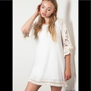 OFF WHITE UMGEE LACE TASSEL DRESS 1X